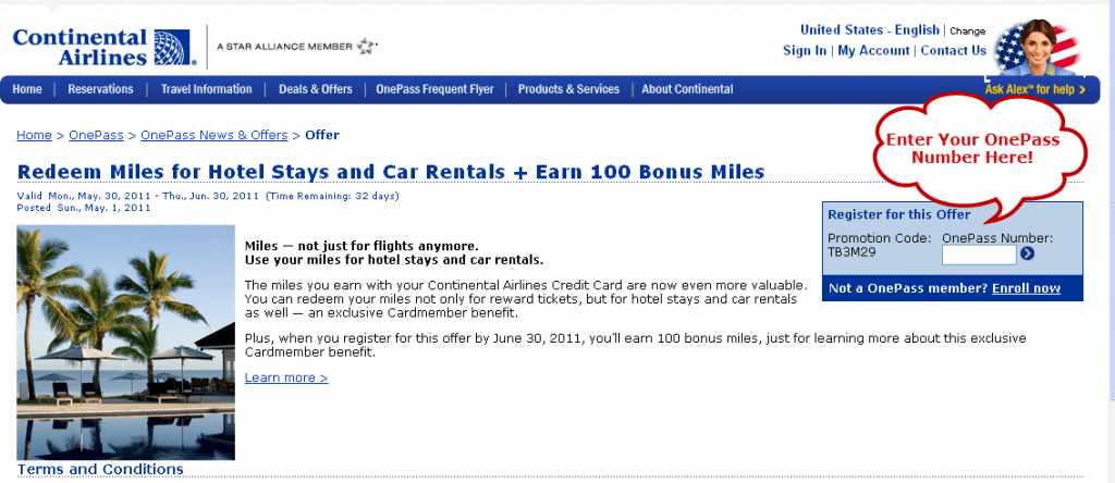 100 Free Continental OnePass Miles