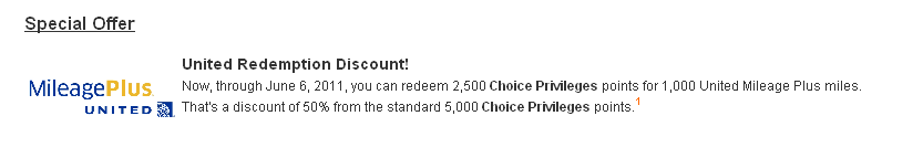 50% Discount for Converting Choice Privilages Points to United Air Miles!