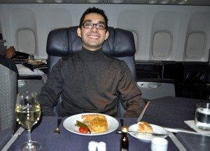 American Airlines Flagship First Class – London to Chicago – Waiting for Emily's Steak!