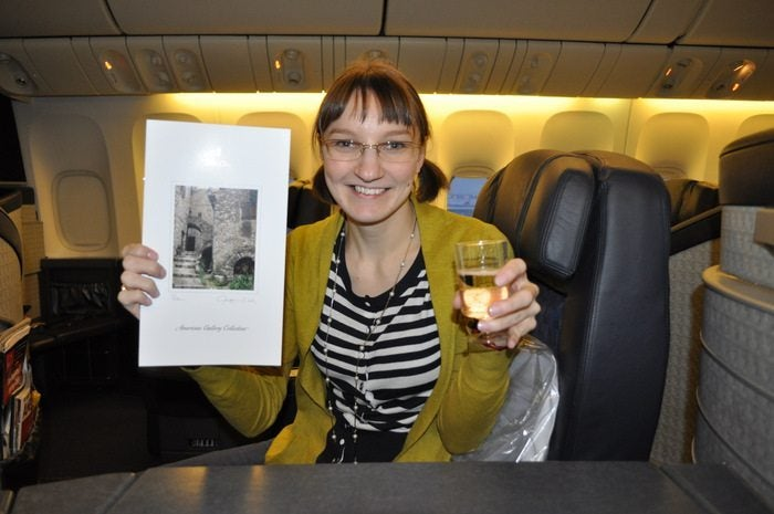 American Airlines Flagship First Class – Chicago to London – Emily Enjoying First Class