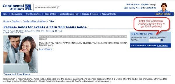 100 Free Continental Miles