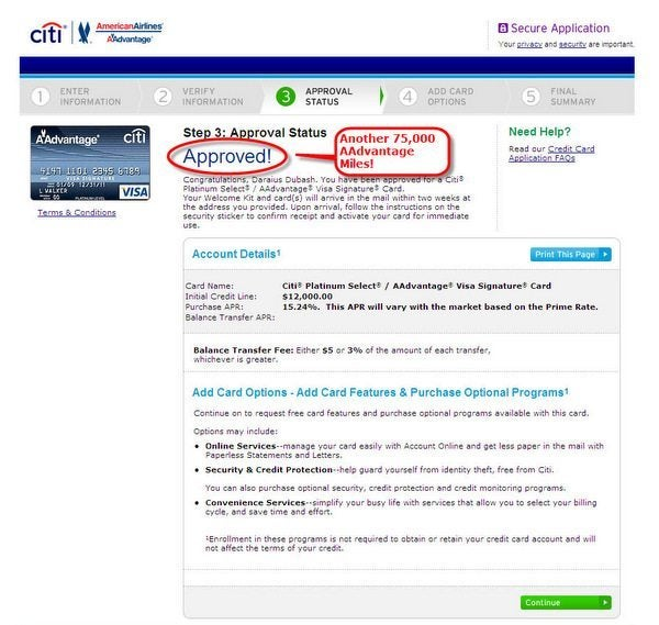 Churn Citi AAdvantage Credit Cards