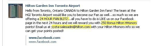 250 Free Hilton Points For Liking Hilton Garden Inn Toronto Airport – Deal Dead