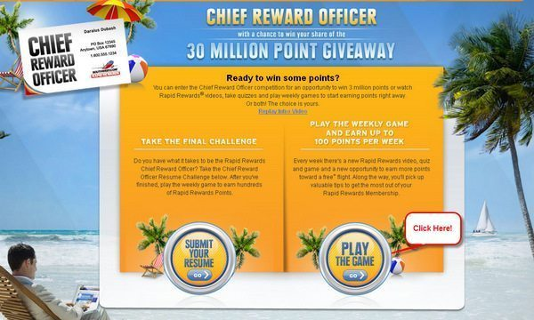 100 Free Southwest Points – Southwest Chief Reward Officer Week 4