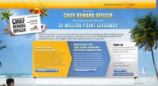 100 Southwest Points – Southwest Chief Reward Officer Week 1 (Last Day Today)
