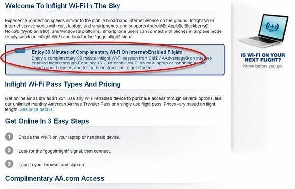 30 minutes free Wi Fi on American Airlines & 1,000 Hilton points