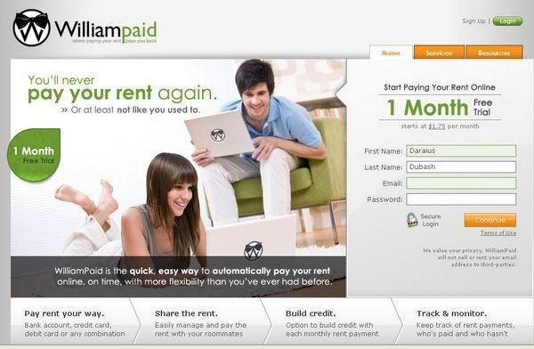 Pay your rent on a credit card with Williampaid