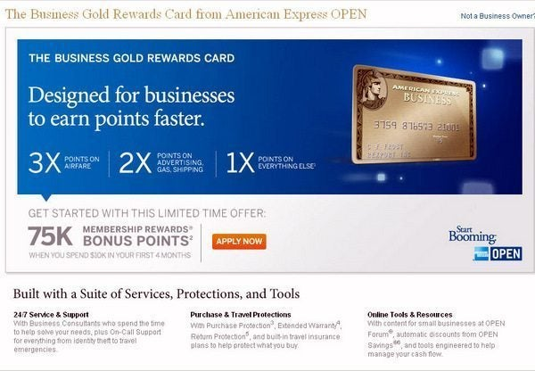 75,000 Business Gold Rewards Card