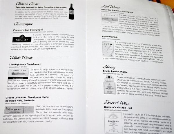 American Airlines Wine List