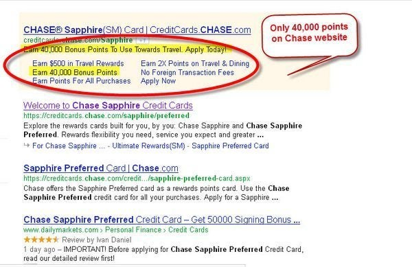 Reader Tip: Chase Sapphire Preferred reduced to 40,000 points (from 50,000) on Chase website