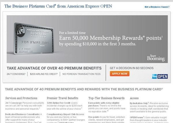 Today Only: 50,000 Membership Rewards Points for American Express Business Platinum [Expired]