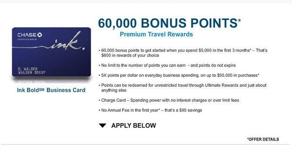 Chase Ink Bold with 60,000 Point Bonus (10,000 more than regular offer) [ Expired]