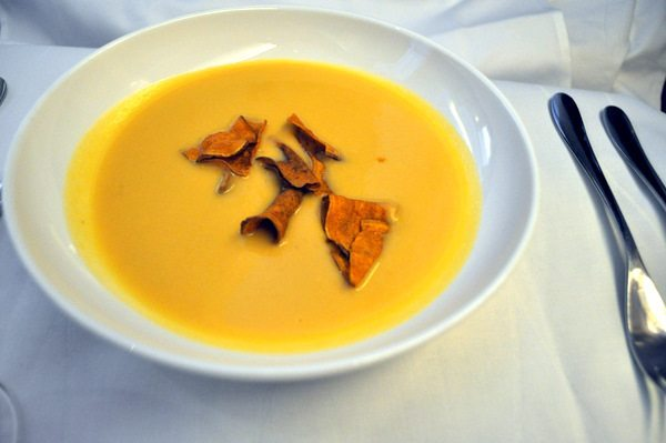 British Airways First Class Review  - Butternut Squash Soup