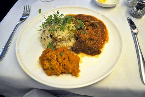 British Airways First Class Review - Lamb masala
