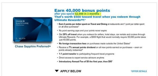Chase Sapphire Preferred Minimum Spending is now $2,000 (Down from $3,000)