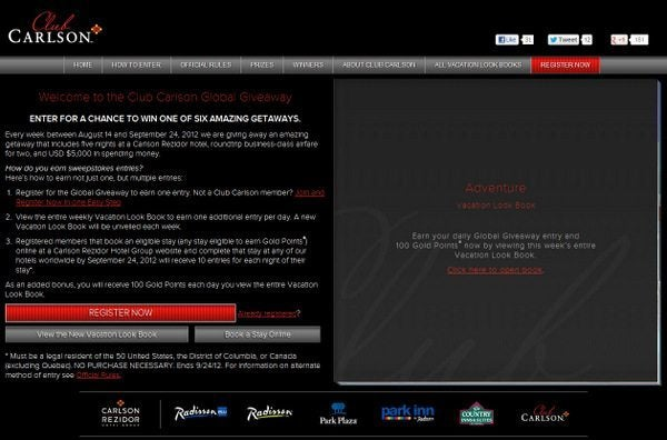 Earn up to 4,200 Free Club Carlson Points (100 Per Day) through September 24, 2012