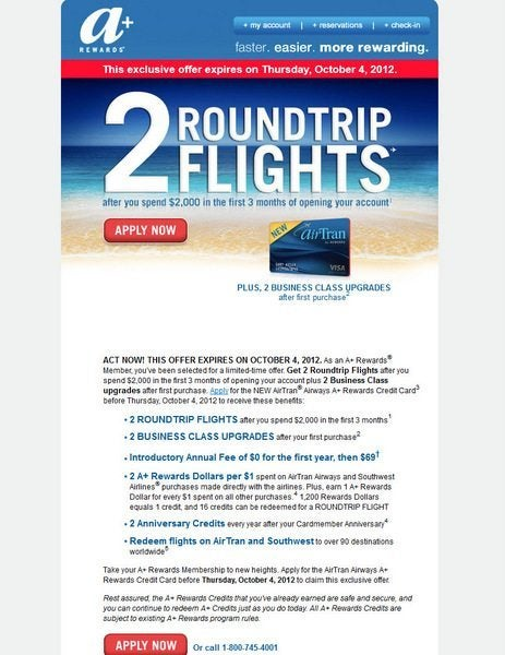 News You Can Use – Chase Air Tran With 32 Credits [Expired] & Priority Club Points Break List