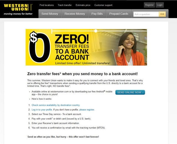 Using Western Union with Cards