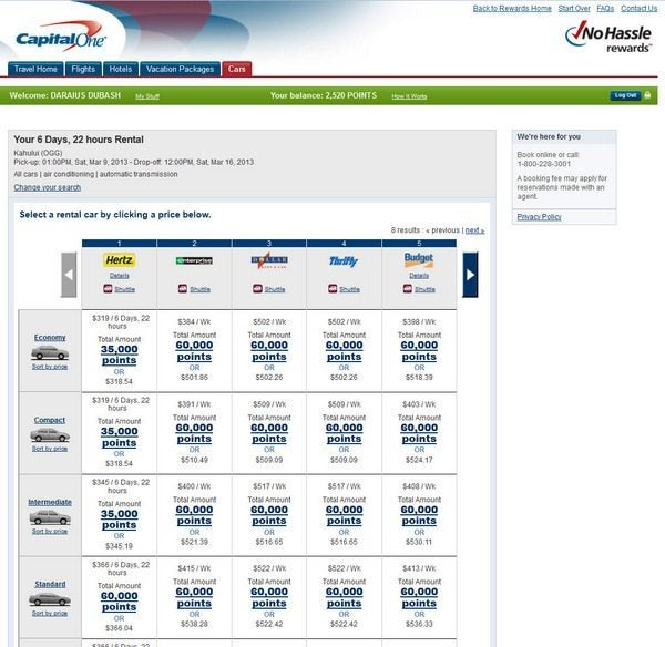 Capital One Car Rentals