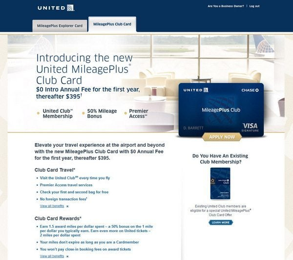 Targeted United 55,000 Mile Card & United Club Card With No Annual Fee
