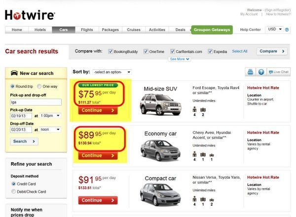 Hotwire Rental Cars 1