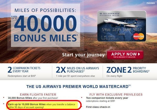 The Barclaycard US Air Affiliate Link for 40,000 Miles is Really for Only 30,000 Miles