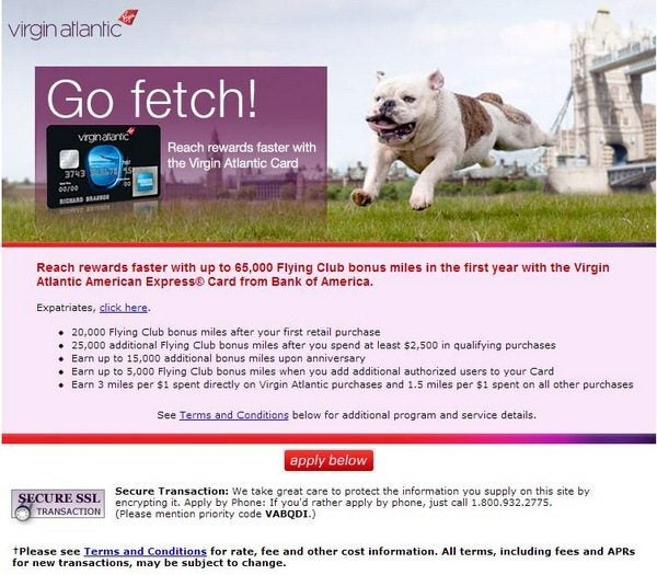 Bank of America Virgin Atlantic with 50,000 Miles