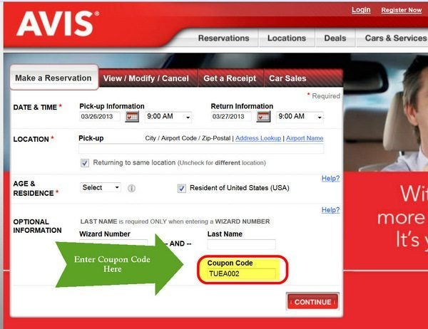 How to Redeem a Coupon Code at Avis Rent A Car. Finding the right car for your trip and applying your coupon codes at Avis Rent A Car are both easy experiences. Click the