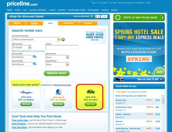 Priceline's Name Your Own PRice