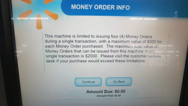 You Can Buy Money Orders From the Kiosk