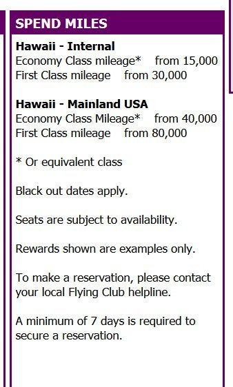 Hawaiian Air Partner Award Chart