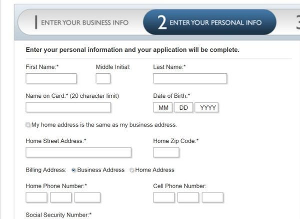 enter your personal information - American Express Business Credit Card