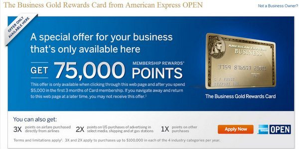 Won't Last! 75,000 Points (~$750+ in Travel) With The American Express Business Gold Rewards Card [Expired]