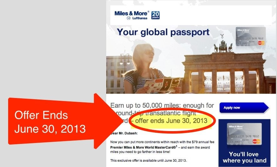 Credit Card Updates:  50,000 Mile Lufthansa Card Ends June 30, 2013, Fairmont Card, and United Business Card