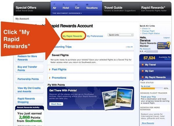 "Click on ""My Rapid Rewards"" on The Top"