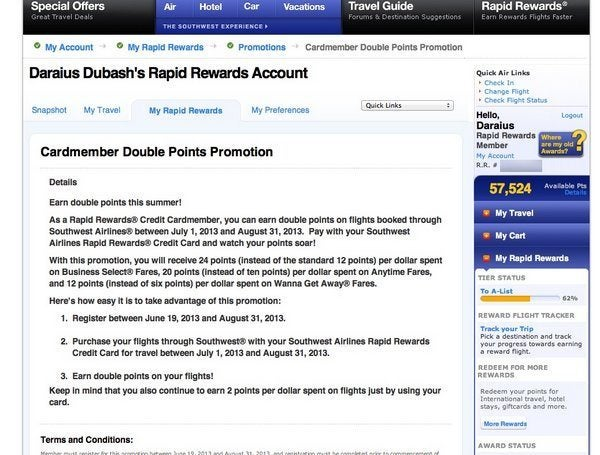 Register for Double Points Promotion