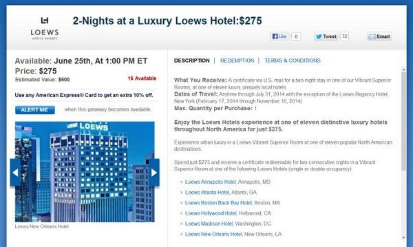 Daily Getaways 2 Nights in a Luxury Loews Hotel