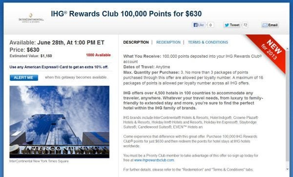 Purchase 100,000 Priority Club Points