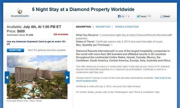 Daily Getaways Diamond Resorts Offer