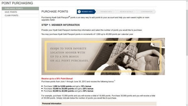 30% Bonus on Purchases of Hyatt Points
