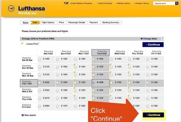"Select Flights & Click ""Continue"""