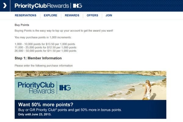 5,000 Priority Club Points ($35) for Select Hotels Through December 2012