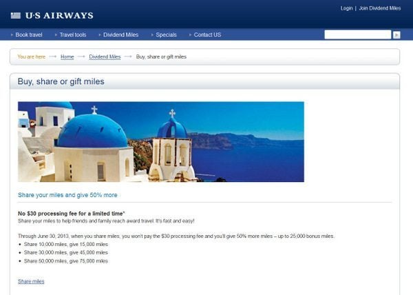 50% Bonus on Shared US Airways Miles