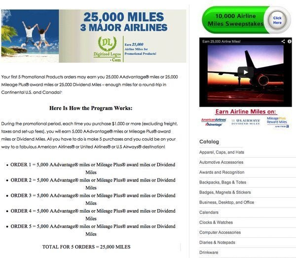 25,000 Miles For Buying Promotional Products