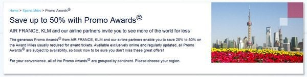 Up to 50% Off Award Travel with AirFrance Promo Awards