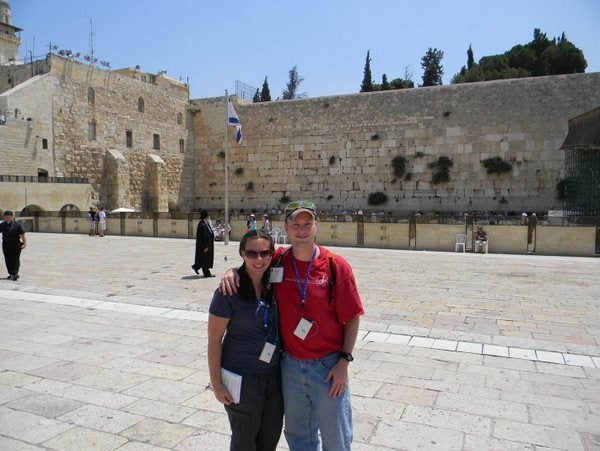 My husband and I in front of the Wailing Wall in Jerusalem