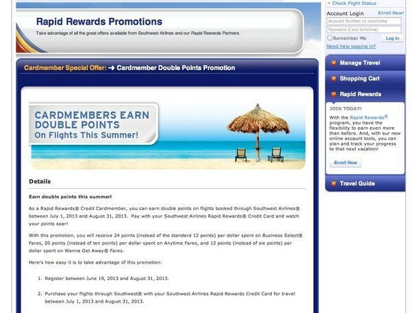 Southwest Double Point Promotion if You Have the Southwest Card