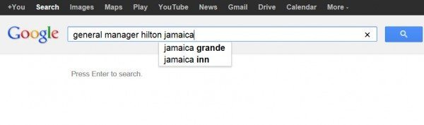 Google Search For General Manager Of Hilton Jamaica