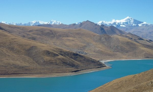 Beautiful high-altitude lake in Tibet