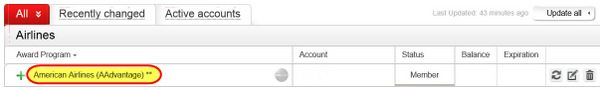 Track American Airlines AAdvantage Frequent Flier Accounts with AwardWallet